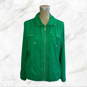 Alia | Green Zip-Front Light Weight Jacket